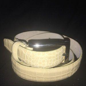 Via Spiga Cream Leather Emboss Belt Silver Buckle